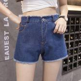 海外直發不退換牛仔褲7630 高腰寬松 牛仔褲短褲女大碼女裝胖mm 闊腿黑白色毛邊熱褲子(F3051