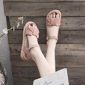 涼鞋 涼鞋女士2020年夏季新款厚底學生仙女風百搭時裝溫柔平底鞋ins潮