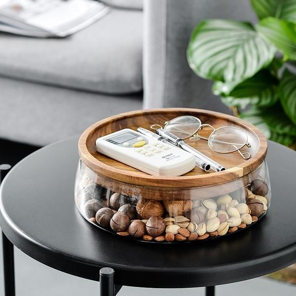 玻璃水果盤 創意木蓋 收納盤 零食盤 水果盤 木蓋果盤 玻璃盆 木蓋【RS1237】