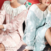 秋冬睡衣  秋楓睡衣-睡裙(兩色:粉、藍)-保暖、居家服_蜜桃洋房