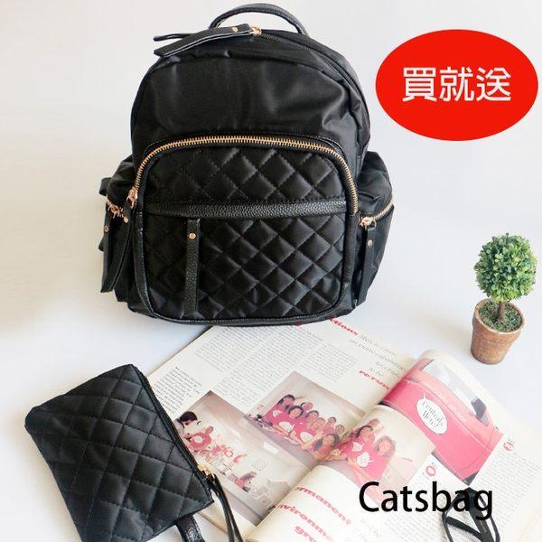 韓防水菱格多收納EGG後背包附手拿化妝包(A4不能放)Catsbag-87000904