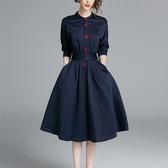 洋裝 七分袖修身氣質連身裙OL襯衫裙中長款收腰氣質 降價兩天