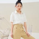 襯衫 簡約貼標質感五分袖襯衫TK01110-創翊韓都