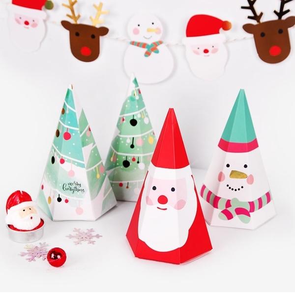 聖誕節三角錐盒 聖誕包裝盒 聖誕節紙盒 聖誕盒紙盒聖誕禮物盒聖誕包裝餅乾糖果盒【X097】