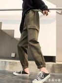 休閒褲/闊腿褲女-加絨百搭休閒褲女秋冬新款韓版ins寬鬆高腰直筒工裝哈倫褲潮 糖糖日系女屋