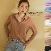 襯衫 Space Picnic|隱形釦滑料長袖襯衫(預購)【C20081075】