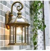 戶外壁燈歐式花園庭院LED壁燈防水陽台室外燈別墅大門外牆掛壁燈(掃金色不含燈泡)