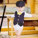 【美國 RuffleButts】長袖純棉包屁衣-小紳士領結禮服款  B1KWHXX-NVYB