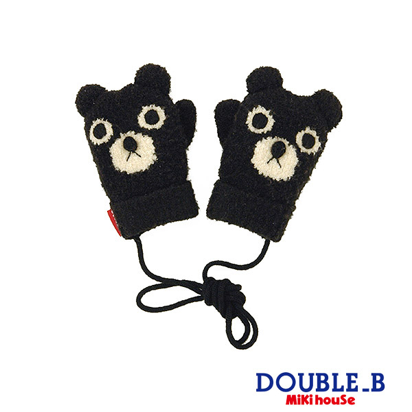 DOUBLE_B 可愛黑熊保暖手套(黑)