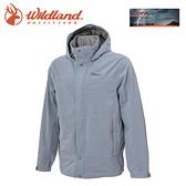 【Wildland 荒野 男 單件式防水透氣外套《灰藍》】W3912/Champ-Tex/保暖夾克/防風防雨/爬山健行