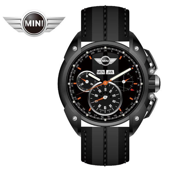 【萬年鐘錶】MINI Swiss Watches英國風格 午夜黑面暗灰中條三眼外圈數字日期黑灰雙色皮帶錶45mm MINI-06