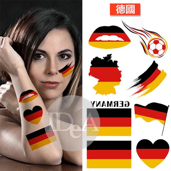 2018年俄羅斯世界盃足球賽 德國紀念版 轉印貼紙 紋身貼 非刺青 加油 球迷 臉貼 個性 造形 免運
