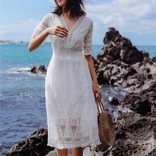 短袖洋裝-鏤空蕾絲花邊收腰女連身裙73ye50【巴黎精品】