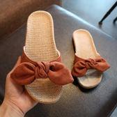 大呎碼涼鞋 女夏室內居家亞麻拖鞋家居家用辦公室可愛軟底地板防滑涼拖鞋 GB1372『愛尚生活館』