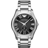 【台南 時代鐘錶 Emporio Armani】亞曼尼 AR11086 義式品味 羅馬時標 紳士品味時尚腕錶 黑/銀 43mm
