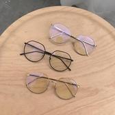 網紅ins同款平光鏡眼鏡女小臉圓框復古金邊鏡框架防輻射藍光