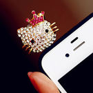 iphone 4 4s HTC Samsung 3.5MM 超萌可愛貓咪皇冠鑽石耳機塞