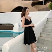 沙灘裙女夏小個子性感露背吊帶洋裝ins超火黑色小黑裙海邊度假連身裙