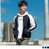 《KS0612》韓系圓領條紋撞色羅紋拼接鋪棉棒球外套 OrangeBear