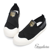 休閒鞋 極舒適交叉鬆緊軟底平底鞋