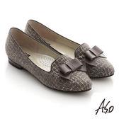 A.S.O 典雅舒適 金蔥網格蝴蝶結飾低跟樂福鞋 灰