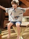 兒童睡衣男童短袖純棉春夏季薄款小男孩中大童寶寶家居服套裝夏天 童趣屋