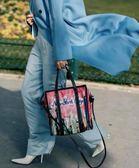 ⚡️新低價■ 專櫃6折■ Balenciaga 全新真品 Bazar Shopper S 寰宇世界系列紐約圖騰羊皮兩用包