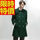 毛呢外套焦點合身剪裁-簡單細緻長版雙排扣男大衣1色61x23【巴黎精品】