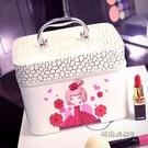 韓少女心化妝包韓版大容量專業手提包硬的化妝箱防水化妝品收納包「時尚彩紅屋」
