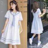 森女系洋裝 海軍風連身裙女夏小個子正韓學生少女小清新甜美森女系仙女裙 小天使