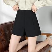 黑色西裝短褲女夏寬鬆高腰a字顯瘦2021新款爆款雪紡闊腿大碼春秋【快速出貨】