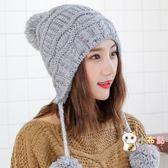 85折免運-帽子女冬季正韓時尚潮可愛甜美毛線針織帽加絨加厚保暖三球護耳帽