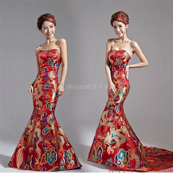 (45 Design) 定製 客製化7天到貨 明星款婚紗禮服紅色長款魚尾旗袍龍袍中式晚禮服