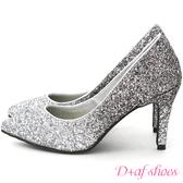 婚鞋 D+AF 星光閃耀.漸層閃料亮片水台高跟鞋*銀灰