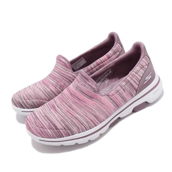 Skechers 休閒鞋 Go Walk 5-Glowing 粉紅 彩虹 針織鞋面 女鞋 【ACS】 15912MVMT