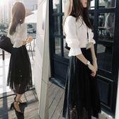夏季新品時尚長裙套裝女 正韓顯瘦襯衫鏤空蕾絲中長裙兩件套 雙11大促