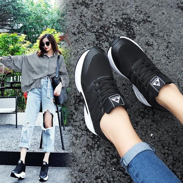 內增高小白鞋女新款夏季百搭韓版厚底網面鏤空透氣白色運動鞋 快速出貨