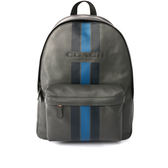 【COACH】皮革拼黑藍直條紋 大容量後背包(灰色)F72237 M3Z