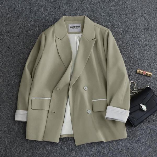 2021春裝新款韓國寬鬆網紅小西裝外套女九分袖顯瘦Chic休閑西 快速出貨