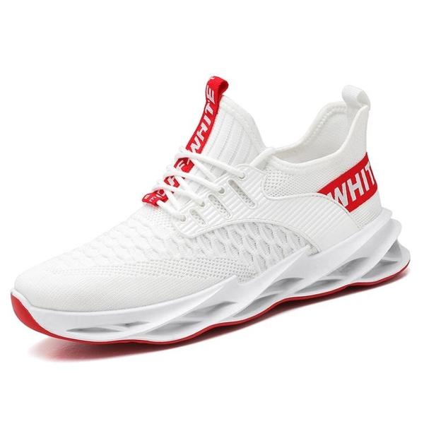 運動鞋 2020夏季新款飛織透氣運動鞋男網面跑步潮鞋刀鋒潮流百搭休閒板鞋 歐歐