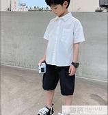 男童2021夏裝新款字母襯衫韓版半袖上衣兒童短袖襯衣洋氣中大童裝 夏季新品