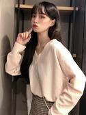 長袖襯衫   秋冬設計感針織上衣小眾韓版秋季新款襯衫女裝寬鬆長袖襯衣潮促銷好物