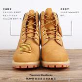 鞋帶Timberland 鞋帶馬丁靴10061  短靴大黃靴圓鞋帶棕色~ ~