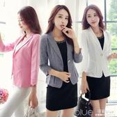 休閒小西裝女短款夏季韓版修身七分袖職業西服女士薄外套 深藏blue
