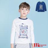 JJLKIDS 男童 英倫景物圓領配色長袖T恤上衣(2色)