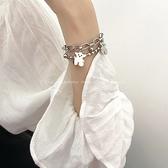 鈦鋼不掉色嘻哈小熊手鏈女小眾設計韓版簡約個性冷淡風手飾