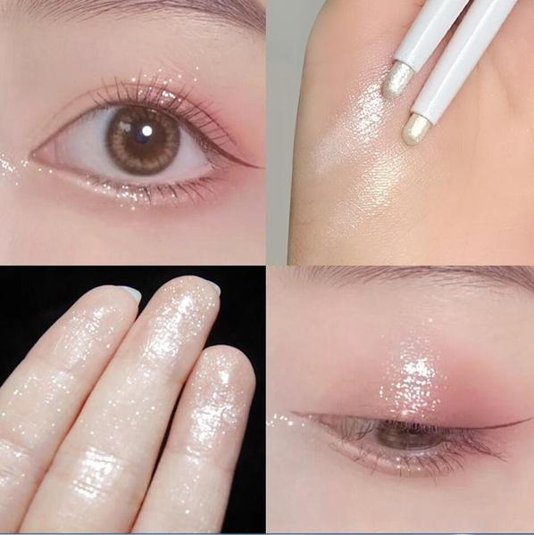 單頭臥蠶筆 自然放大雙眼立體提亮香檳金珠光白眼影高光 一筆多用