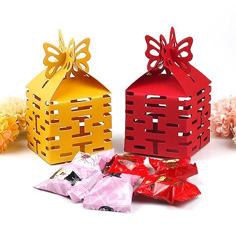 幸福婚禮小物❤DIY蝴蝶喜字喜糖盒❤迎賓禮/二次進場/活動小禮物/送客禮/喜糖盒