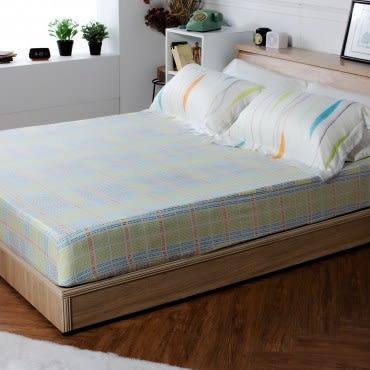 HOLA home 水茵莫代爾印花床包枕套組 雙人