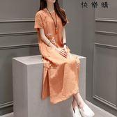 中國風棉麻連身裙中民族風女裝亞麻裙子